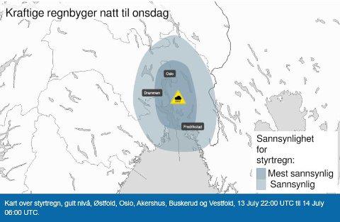 FAREVARSEL: Det er meldt styrtregn i Rakkestad onsdag.