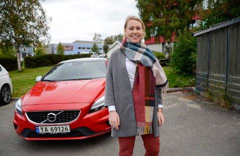 PRIVAT LEIE: Birgitte Skjefstad har leaset privat – en Volvo V40 R-design.