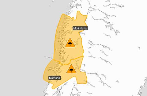 Det ventes enorme nedbørsmengder på Helgeland og i Nord-Trøndelag.