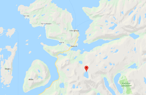 Smibelgvannet avmerket på kartet.
