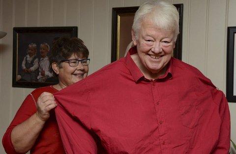 Telt: Skjortene og buksene Per Karsten Dahl brukte før slankekuren fortoner seg nesten som telt, konstaterer kona Kari.