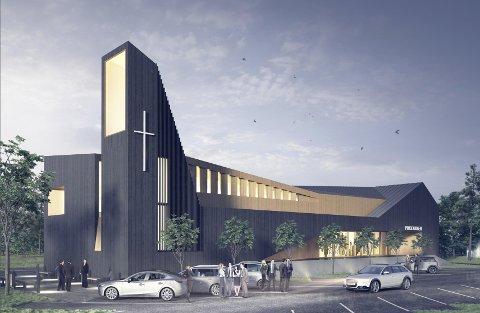Kirken Jessheim slik den er tegnet av arkitekt Cirrus, Jessheim.