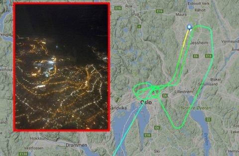 RUNDT OG RUNDT: Det var økt beredskap på Gardermoen før flyet kunne lande. Her ser man tydelig hvordan flyet har sirkulert rundt Oslo før det til slutt landet på Gardermoen. FOTO: PRIVAT/FLIGHTRADAR