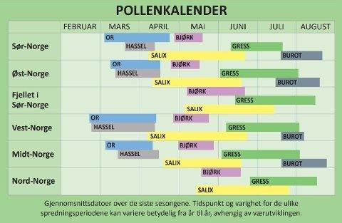 KALENDER: Denne oversikten viser når du kan forvente å oppleve spredning av pollen Foto: Norges Astma og Allergiforbund