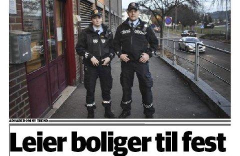 Ungdommer fester i leide boliger:  Faksimile av Sandefjords Blads førsteside tirsdag 21. november.