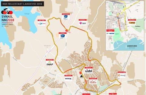 RUTA: Her er et kart over hvilke områder som blir berørt undre NM.