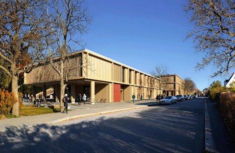 VINNERUTKASTET: Forslaget «Tripp trapp» ble plukket ut som vinneren av plan- og designkonkurransen til nye St. Olav videregående skole. Illustrasjon: Longva arkitekter