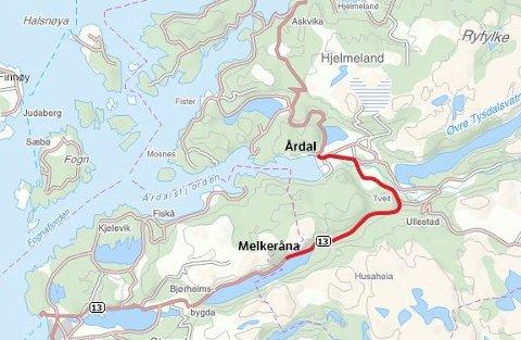 Det skal bygges en rassikker trasé for Riksveg 13 mellom Melkeråna og Årdal. (Kart: Statens vegvesen)