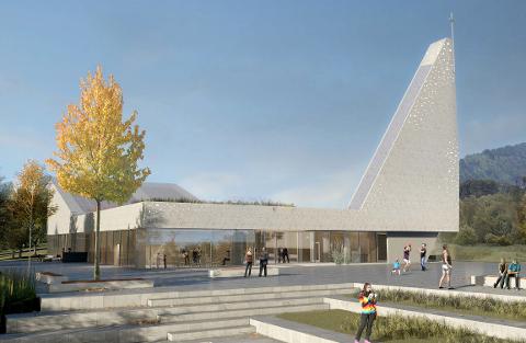 Slik skal den nye kirka på Tau se ut. Ratio Arkitekter fra Oslo har laget forslaget som har fått arbeidsnavnet «Vaffelhjerte».
