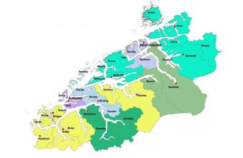 Arbeidsgruppen foreslår tre politidistrikt på Nordmøre, med kontor i Kristiansund, Sunndal, Surnadal og Aure.
