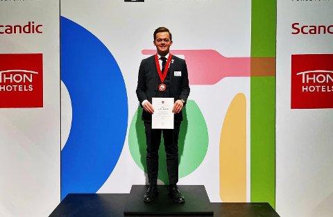 Arne Kristian Birkelund Bævre vant gull under Jeunes Sommelier i Lillestrøm.