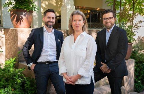 Petter Kvinge Tvedt (fra venstre), Anne Therese Gullberg og Christopher Amundsen Wand er nye partnere i Kruse Larsen AS.