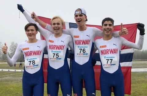 GULL-LAG: Det norske juniorlaget for herrer. Fra venstre Magnus Tuv Myhre, Håkon Stavik, Jonatan Vedvik og Ibrahim Buras.