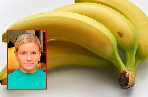FIKK BEKLAGELSE: Othilie Erlandsen kan nå handle bananer med god samvittighet på Farmandstredet. Både senterledelsen og Meny-kjøpmannen har beklaget.