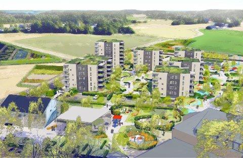HØYHUS: Format eiendom har laget denne skissen for Borgeheim Syd. Nå er det bestemt at det likevel ikke skal legges til rette for handel eller bygges 340 boliger på jordene.