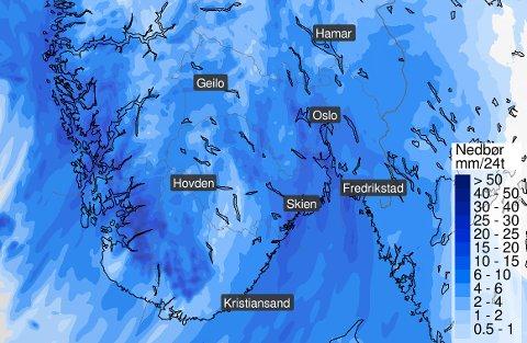 ØS PØS: Det er ventet noen regnfulle dager i midten av uka.