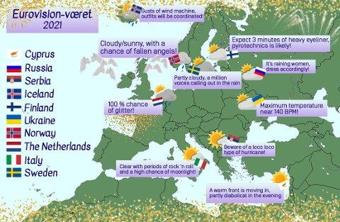 FALLENE ENGLER: Meterologisk Instiutt delte dette bildet for å gi oss Eurovision-været for i dag.