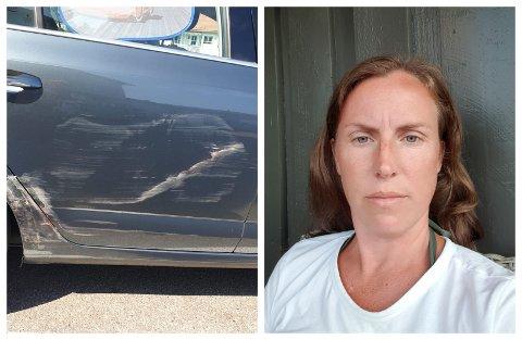STORE SKADER: En ukjent bil skal ha truffet bilen til Trine-Lise Varpe da den sto parkert på Kiwi Gauterød onsdag ettermiddag.