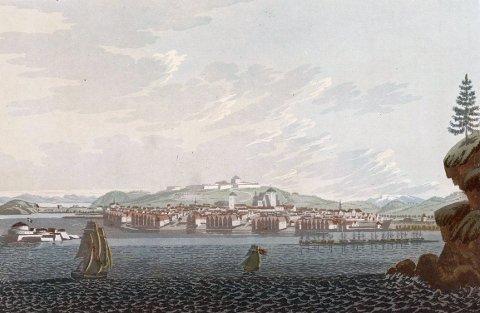 «Staden Tronhjem» av John William Edy, fra «Boydell's picturesque scenery of Norway», London, 1820.
