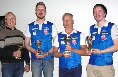 Finalistene: F.v. firer Per Lillebråten, sølvvinner Kim A. Nyland, klubbmester Peter Åhlen og bronsevinner Bjørn I. Stokkehaugen.   FOTO: Inge Hådem