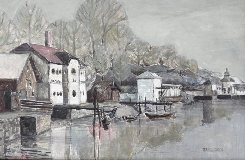 Trudy Mørk Wollbraatens utstilling holdes i Varmbadet. Kunstneren har malt hvordan det så ut for noen tiår siden.