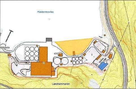 Mastermovika i Mørsvikbotn. Planlagt utfyllingsområde er vist i gult. (Foto: Illustrasjon er hentet fra søknaden.)