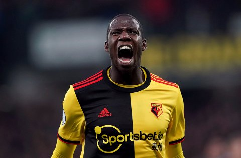 Watford's Abdoulaye Doucoure celebrates scoring against Aston Villa during the English Premier League soccer match at Vicarage Road, Watford, England, Saturday Dec. 28, 2019. (Tess Derry/PA via AP)