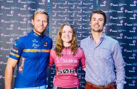 Thor Hushovd (t. v.), Karen Johanne Sandsmark, Dalane Sykleklubb, og Marius Rosenberg, Sponsorsjef i Statoil.