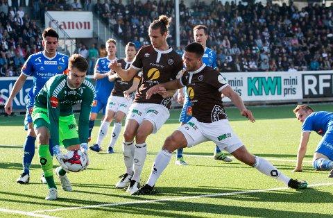FORRIGE MØTET: Her fra vårens oppgjør mellom Mjøndalen og Tromsø. Da endte det 1-1 på Consto Arena.