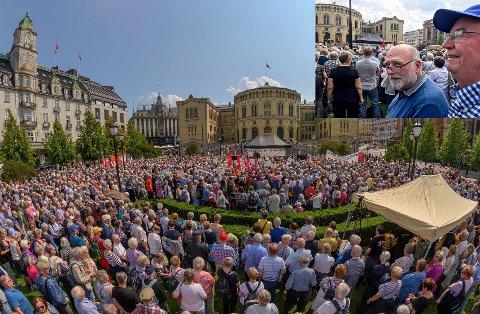 3.000: Mer enn én buss med pensjonister fra Eiker var med å fylle opp Eidsvolls plass under Pensjonistforbundets demonstrasjon foran Stortinget 6. juni. Blant dem var Widar Bryntesen (innfelt f.v.) og tidligere Øvre Eiker-ordfører Steinar Karlsen.