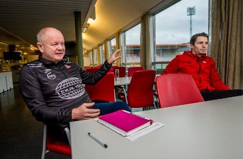 FORSTERKER IGJEN: Sportslig leder Per-Mathias Høgmo kan signere nok en spiller, og det er ventet en ny back i løpet av uken. Til høyre daglig leder Joacim Heier.
