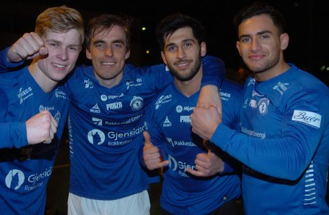 MÅLSCOREER: Disse satte inn hvert sitt mål i cupkampen mot Borgen. Fra venstre Thomas Reinfjord, Marius Grønnern, Safin Nerwai og Resul Sadriu.