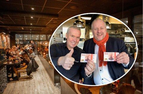 FORNØYDE: Petter Eriksen og Rune Solberg er ikke i tvil om at Middag for hundrelappen er en suksess i Fredrikstad. Stemningen har vært fantastisk på byens restauranter, sier Solberg.