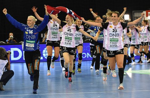 Goalie Katrine Lunde of Vipers Kristiansand and teammates celebrate after they won women's handball Champions' League final match Vipers Kristiansand vs. Brest Bretagne Handball in Papp Laszlo Budapest Sports Arena in Budapest, Hungary, Sunday, May 30, 2021. (Tibor Illyes/MTI via AP)