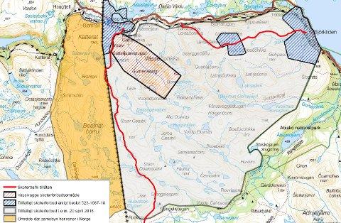 FORBUDSSONE: Et stort område blir rammet av forbudet. De røde strekene viser hvor bestemte løyper går.