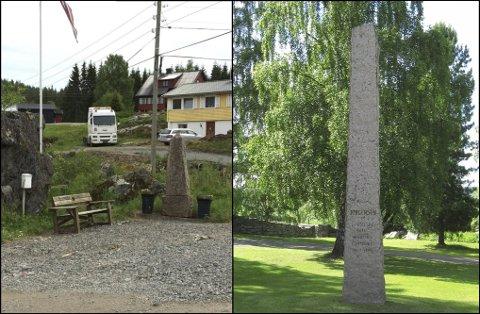 FORSKJELL: – Bautaen kunne like gjerne vært fjernet, mener den pensjonerte konservatoren og historikeren Jorunn Engen, og sikter til Jerpsetbautaen til venstre. Til høyre er minnesmerket ved Hole kirke i Ringerike, til sammenligning.