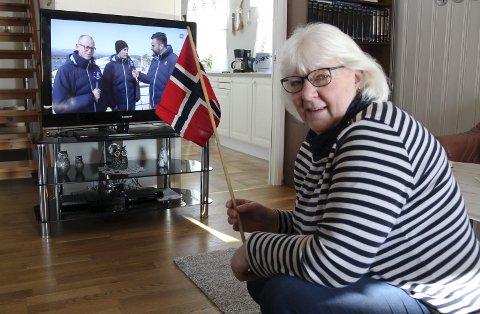 HEIA HANS CHRISTER: May Eli Løvstad er ihuga tilhenger av vinteridrett på tv, og ekstra stas er det da slektningen Hans Christer Holund er i aksjon i OL. Tidlig fredag morgen er hun på plass foran skjermen!