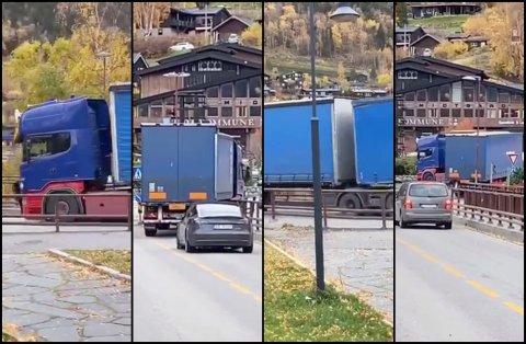 Her kjører modulvogntoget, av typen semilink, gjennom Lom sentrum, til tross for at denne typen kjøretøy ikke har lov til å benytte seg av den aktuelle vegen. Overtredelsen kan medføre anmeldelse.
