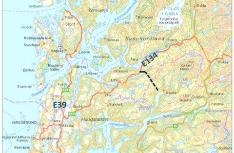 TRASÈ: Saudatunnelen skal etter planen gå mellom Saudasjøen og Frette i Etne, med ny veg i nordenden frå Frette til E134.