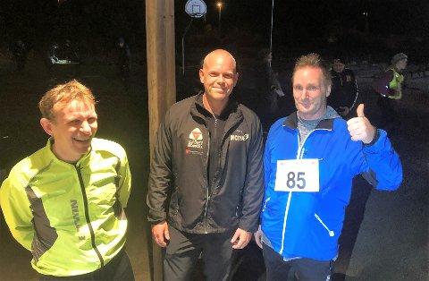 I MÅL I BJØRGENE: Terje Bårdsen (t.v.), William Liknes og Yngvar Mardal etter målgang i Bjørgene terrengøpskarusell (5 km) tidligere i november.