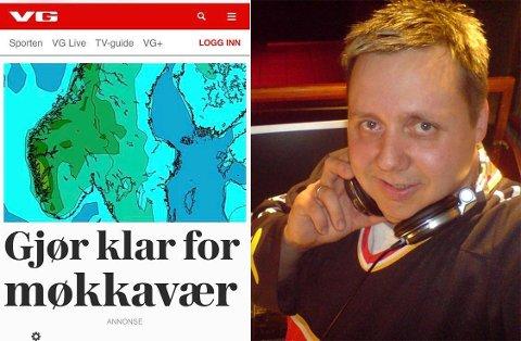 IRRITERT: Denne overskriften hos VG fikk det til å renne over for Sandnesværingen Svenn-Yngve Pedersen, som påpeker at Finnmark har hatt «møkkavær» i flere uker.
