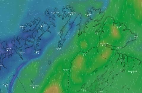 SKILLE: Oversiktskartet hos windy.com viser at Finnmark blir truffet av forskjellige vindstrømmer, som gir forskjellig vær. Her fra hvordan man tror det blir lørdag ettermiddag.