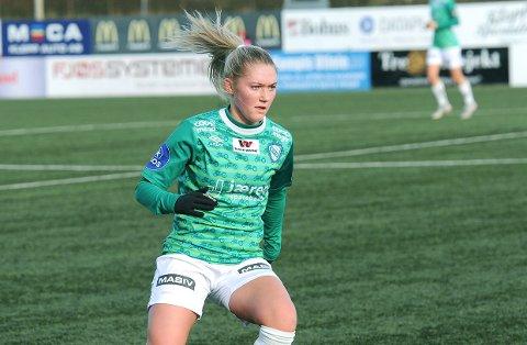 GIR SEG: Madeleine Hille Mellemstrand i aksjon for Klepp i Toppserien i fjor høst.