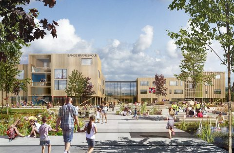 PLANEN: Slik kan den nye skolen i Sande sentrum bli seende ut. skisse: wk entreprenør