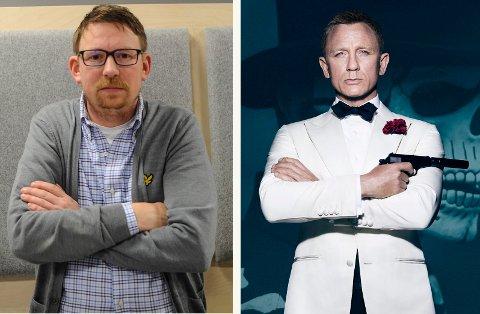PÅ VENT: Kinosjef Even Thunes Jensen (t.v.) skulle vist Daniel Craig sin siste film om James Bond nå i april. Nå må han vente til november.