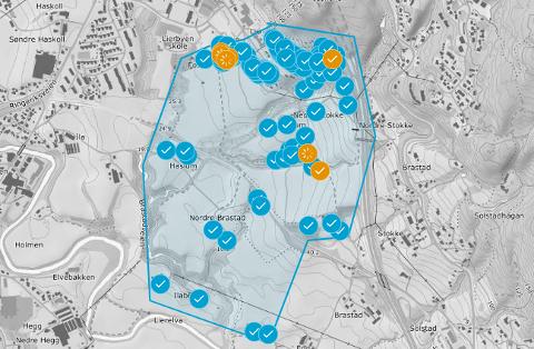 Må koke vannet: Rundt 80 husstander innenfor dette området rundt Lier Hageby er rammet av bakteriefunnet.