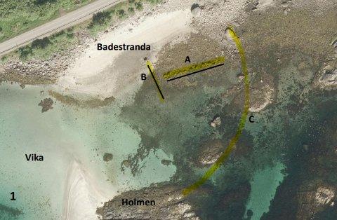 Vil ta grep: Steinene på punkt A er tenkt flyttet i en rekke ved punkt B, her vil man se om det fører til mer ansamling av sand.