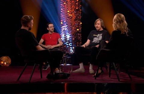 PÅ TV: Fredag var Death By Unga Bunga gjester hos Lindmo på NRK.