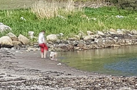 – EKKELT: Her lar kvinnen barnet gjøre fra seg i vannet. Utenfor bildet til venstre var tre godt voksne kvinner på piknik. – De var ganske opprørte, sier tipseren som tok bildet.