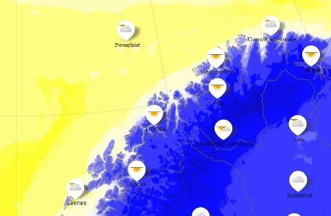 KALD UKE: Ifølge Kristen Gislefoss blir det en kald og stort sett klar uke i Troms. Men lillejulaften snur det, ifølge prognosene.